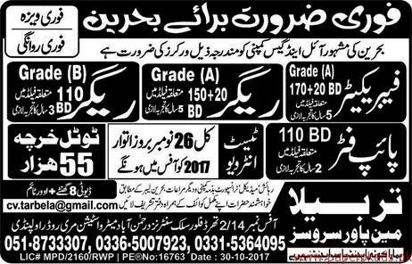Fabricators Riggers and Pipe fitters Jobs in Bahrain