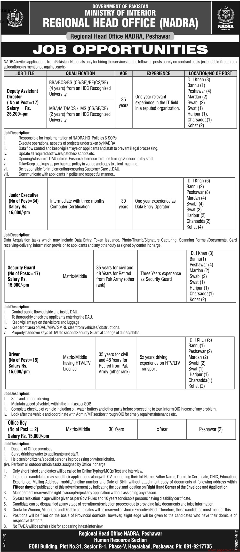 government of pakistan ministry of interior jobs 2017