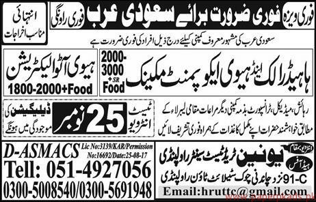 Heavy Equipment Mechanics and Auto Electricians Jobs in Saudi Arabia
