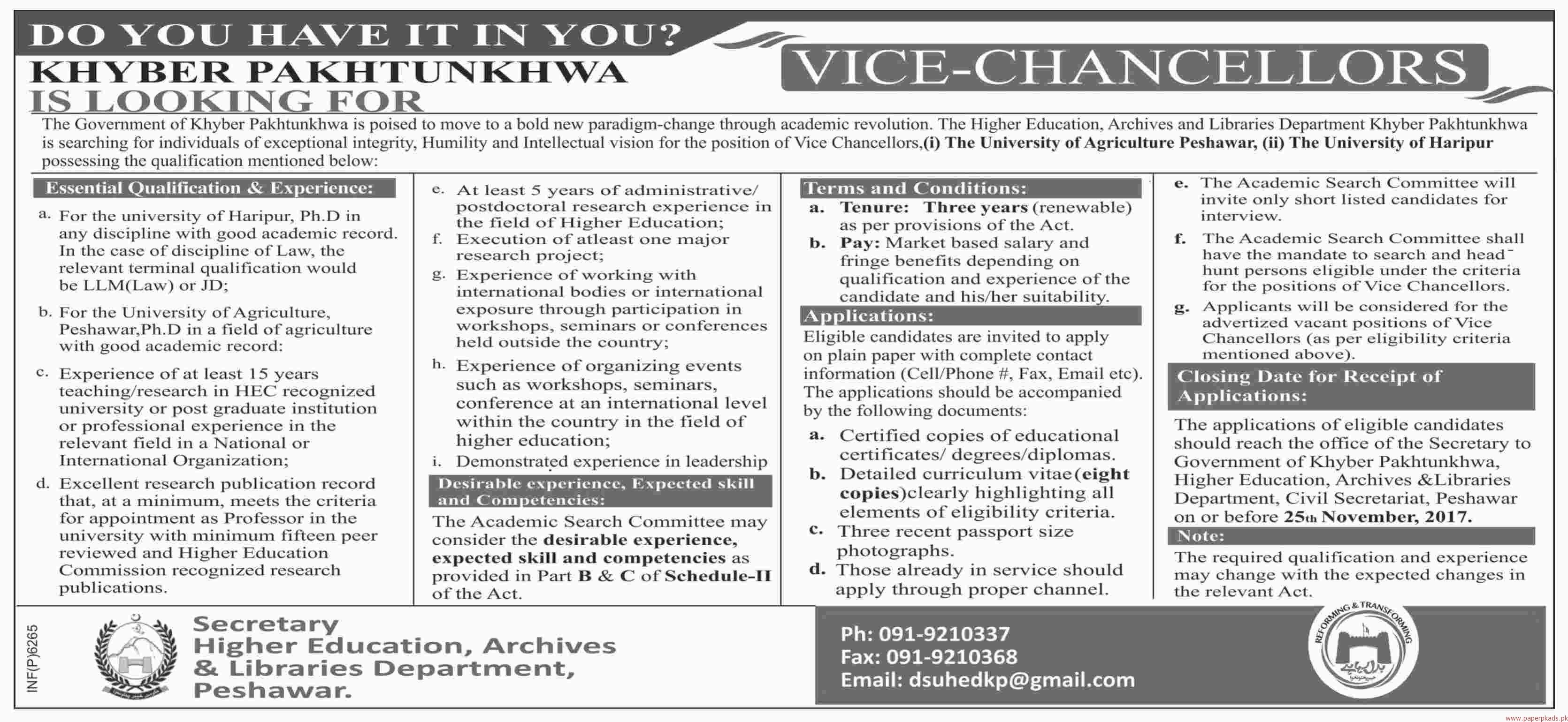 Higher Education, Archives & Libraries Department Jobs 2017