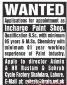 Incharge Paint Shop Required