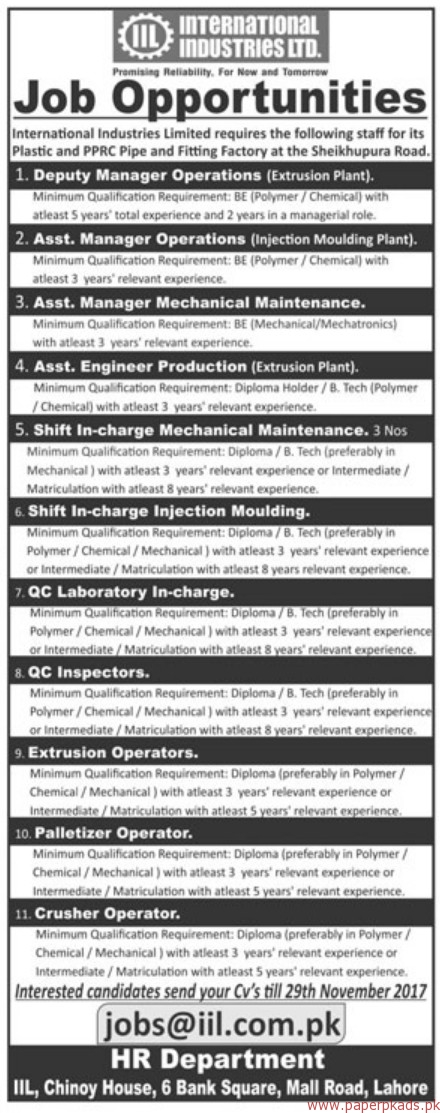 International Industries Limited Jobs 2017
