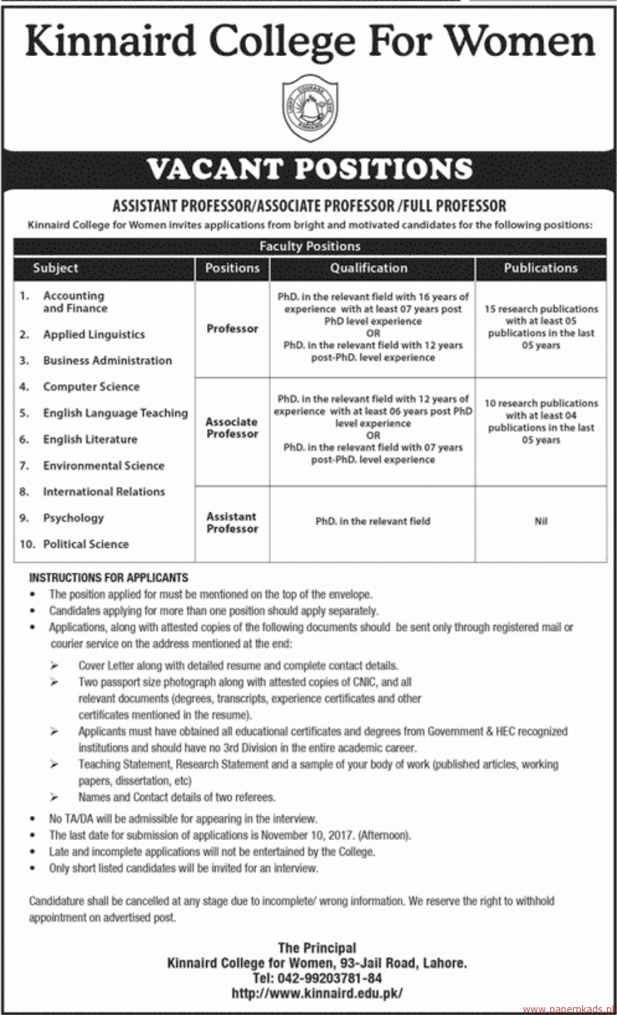 Kinnaird College for Women Jobs 2017