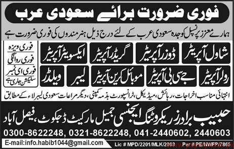 Operators Labours and Welders Required for Saudi arabia