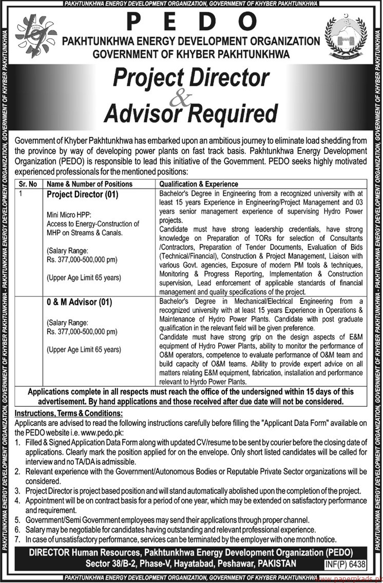 Pakhtunkhwa Energy Development Organization Jobs PEDO Jobs 2017