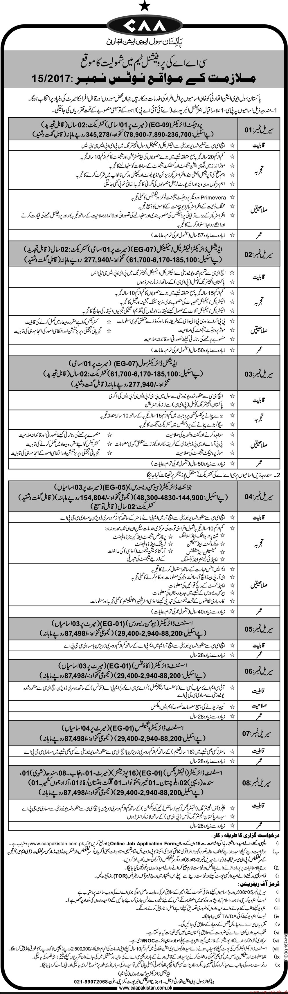 Pakistan Civil Aviation Authority Jobs 2017
