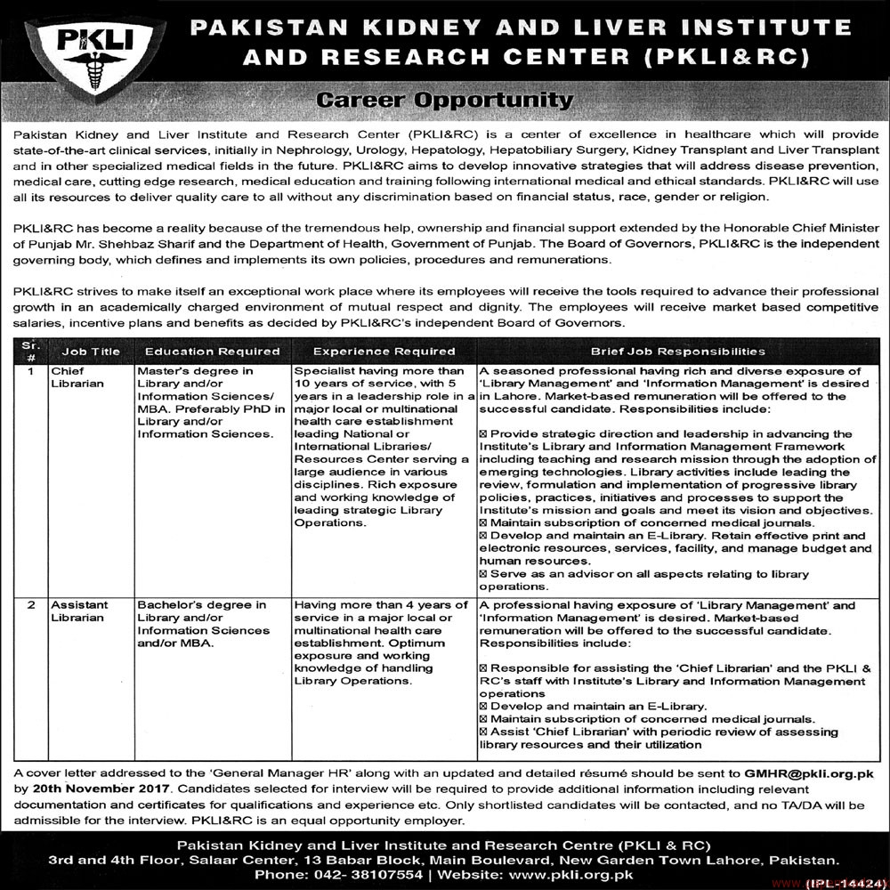 Pakistan Kidney & Liver Institute and Research Center Jobs 2017