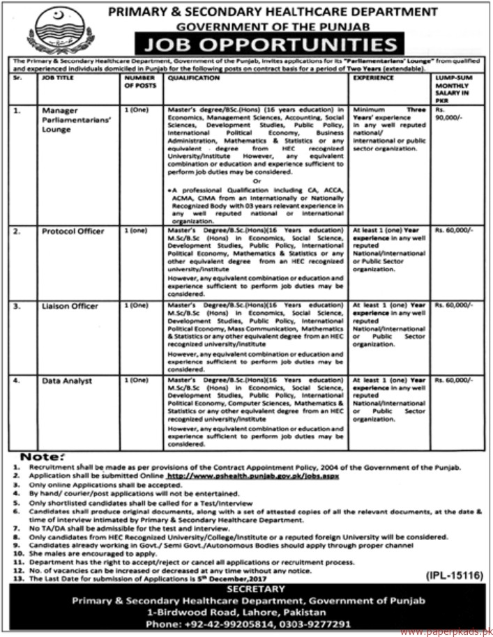 Primary & Secondary HealthCare Department Jobs 2017