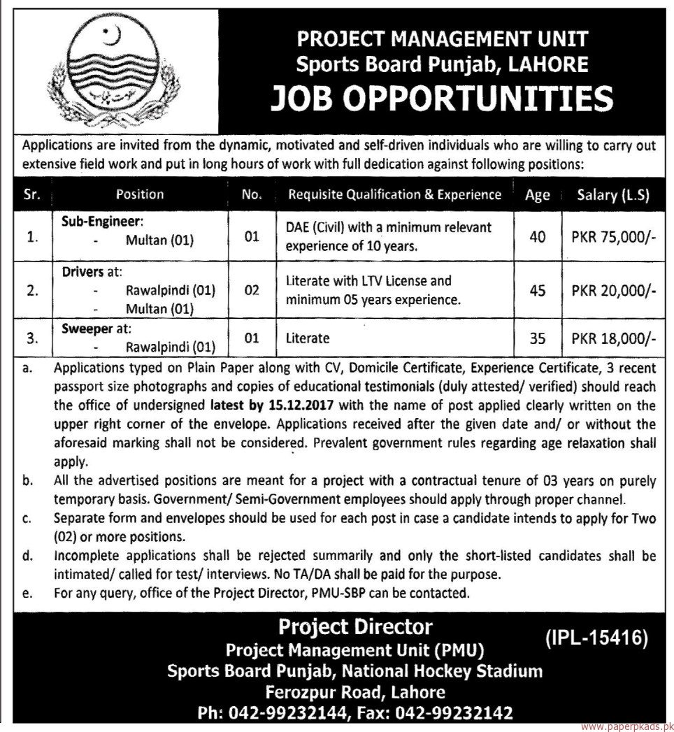 Project Management Unit Sports Board Punjab Lahore Jobs 2017