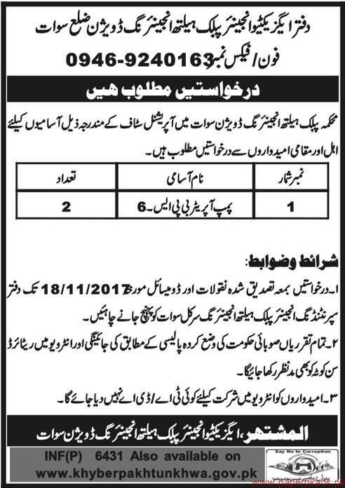 Public Health Engineering Division Swat Jobs 2017