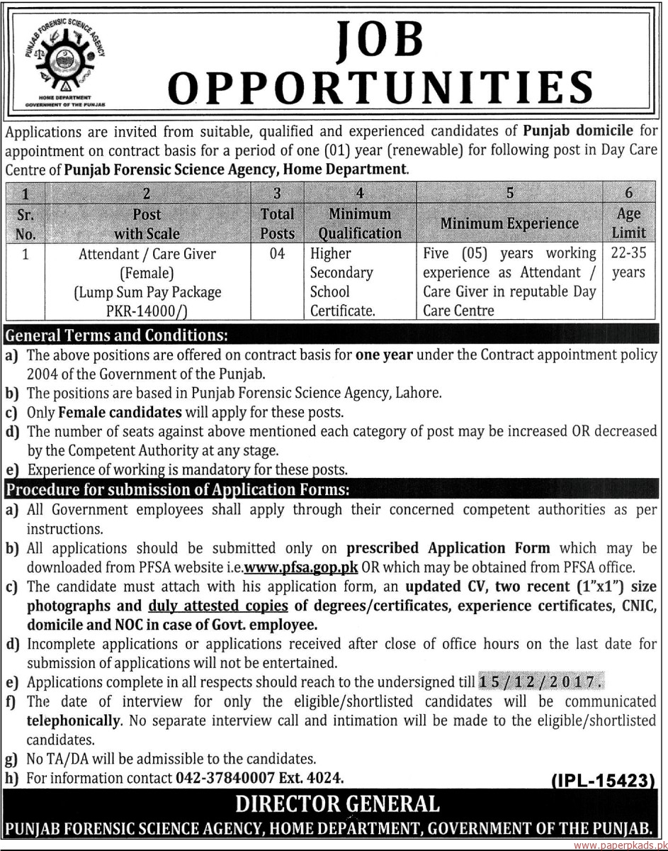 Punjab Forensic Science Agency Home Department Jobs 2017