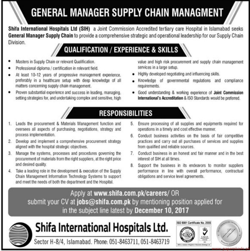 Shifa International Hospital Limited SIH Jobs 2017