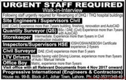 Site Engineers Quantity Surveyors Storekeeper and Other Jobs 2017