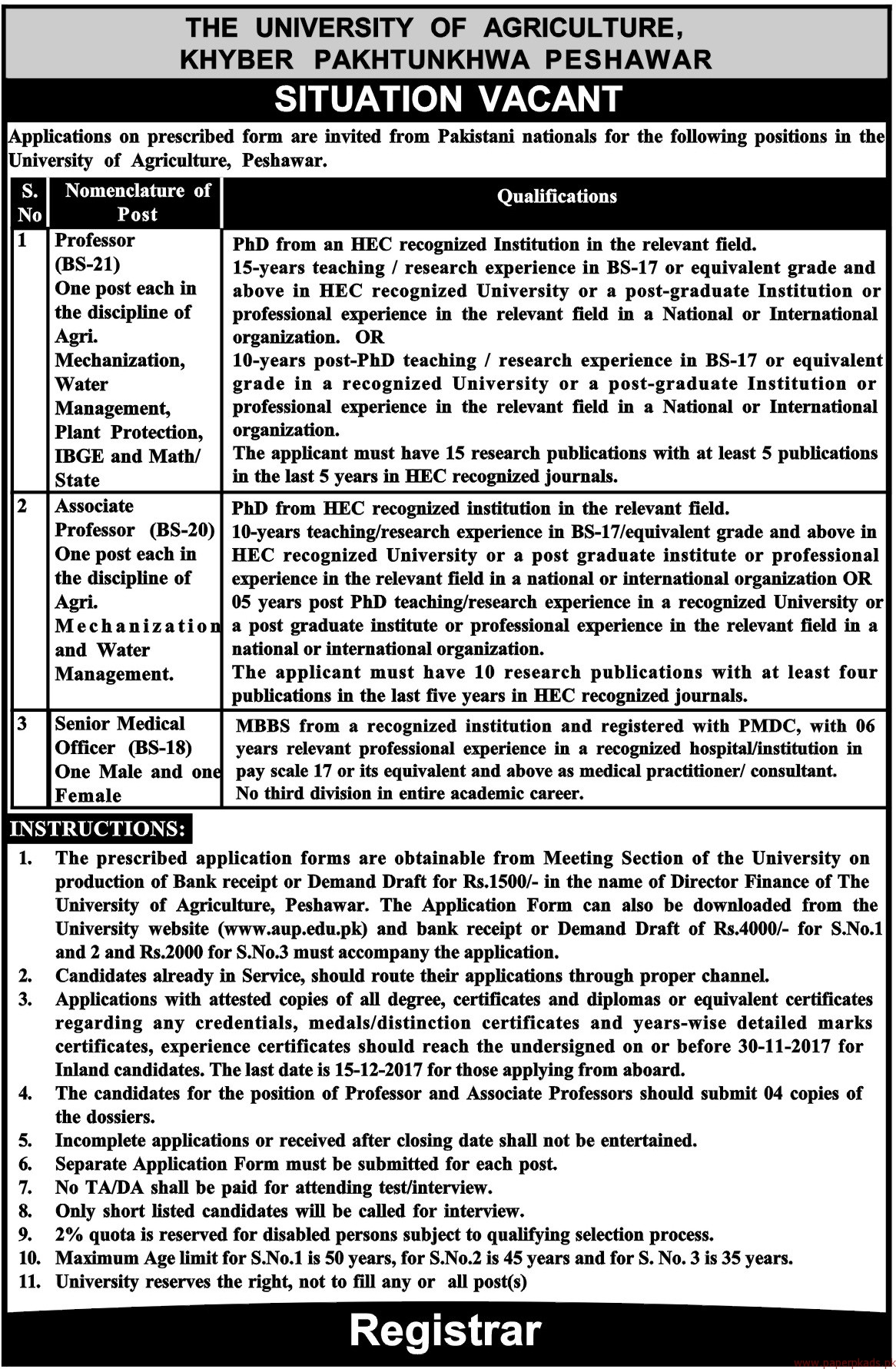 The University of Agriculture Khyber Pakhtunkhwa Peshawar Jobs 2017