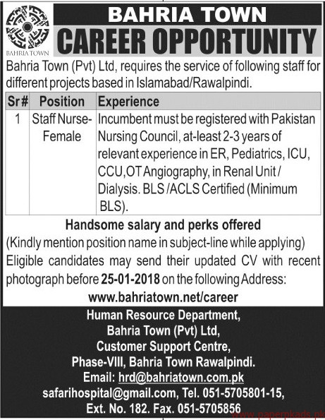 Bahria Town Private Limited Jobs 2017-1