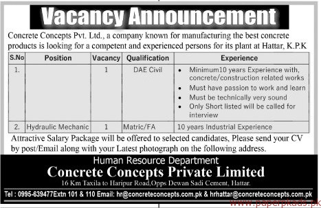 Concrete Concepts Private limited Jobs 2017