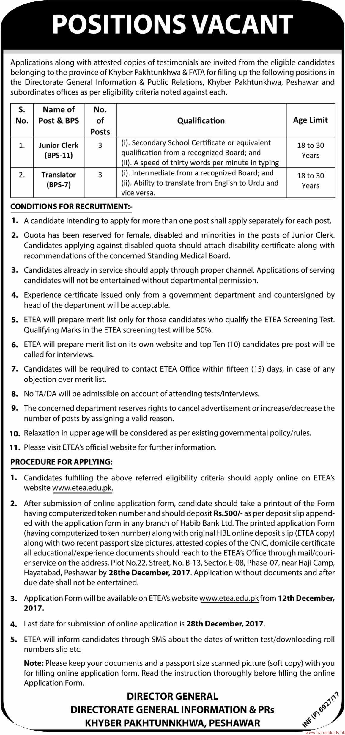 Directorate General Information & PRs Khyber Pakhtunkhwa Jobs 2017