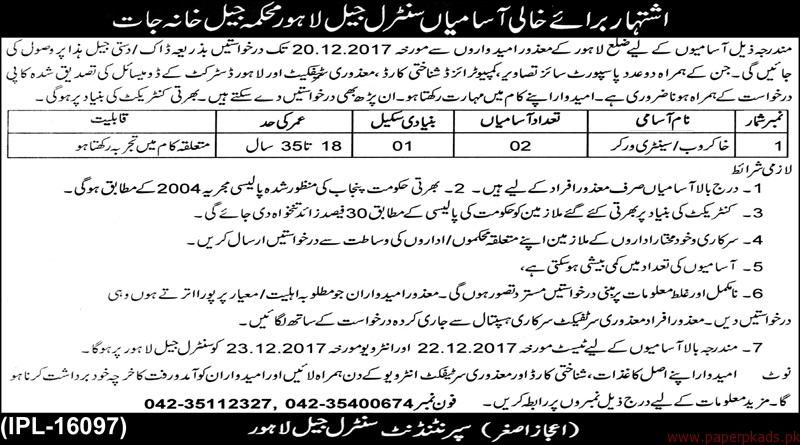 District Jail Lahore Jobs 2017