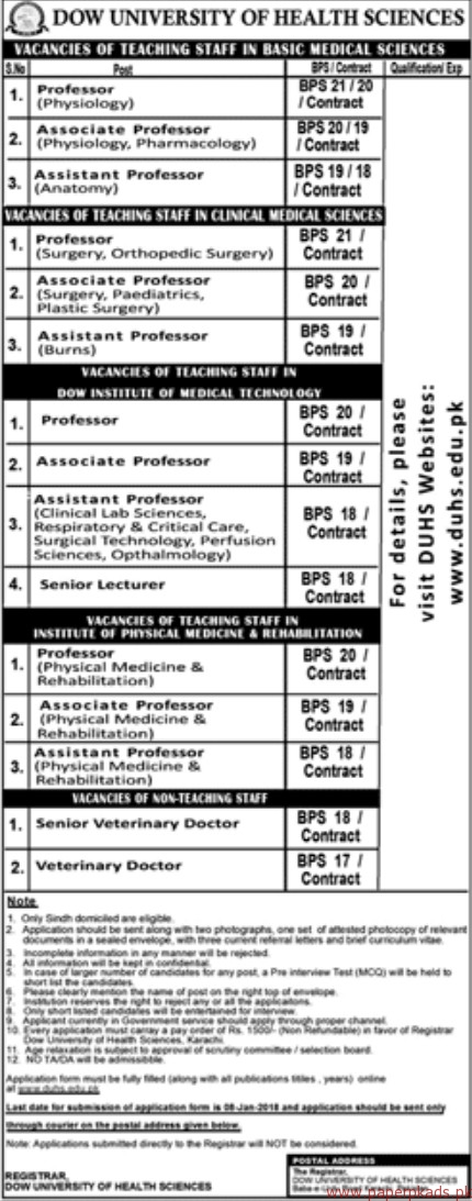 Dow University of Health Sciences Jobs 2017
