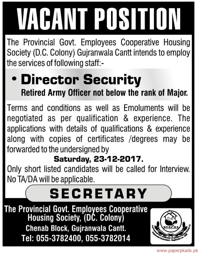 Employees Cooperative Housing Society Jobs 2017