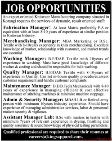 Export Oriented Knitwear Manufacturing Company Jobs 2017
