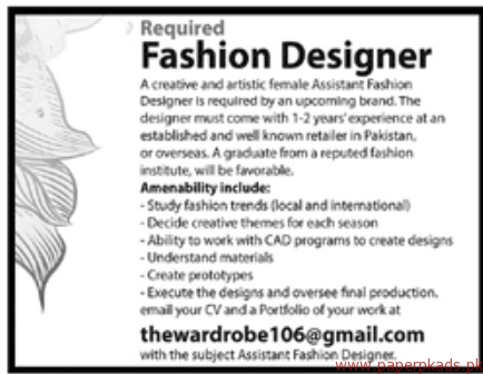 Fashion Designers Required
