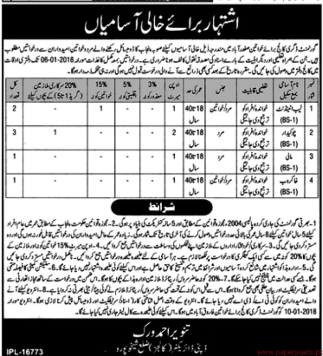 Government Degree College for Women Jobs 2017