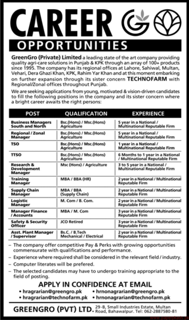 Green Gro Private Limited Jobs 2017
