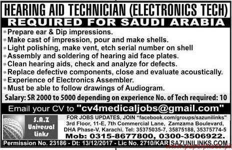 Hearing AID Technicians Required for Saudi Arabia