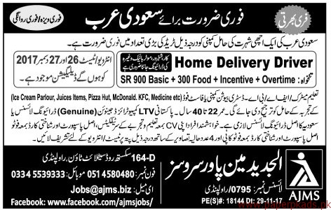 Home Delivery Drivers Required