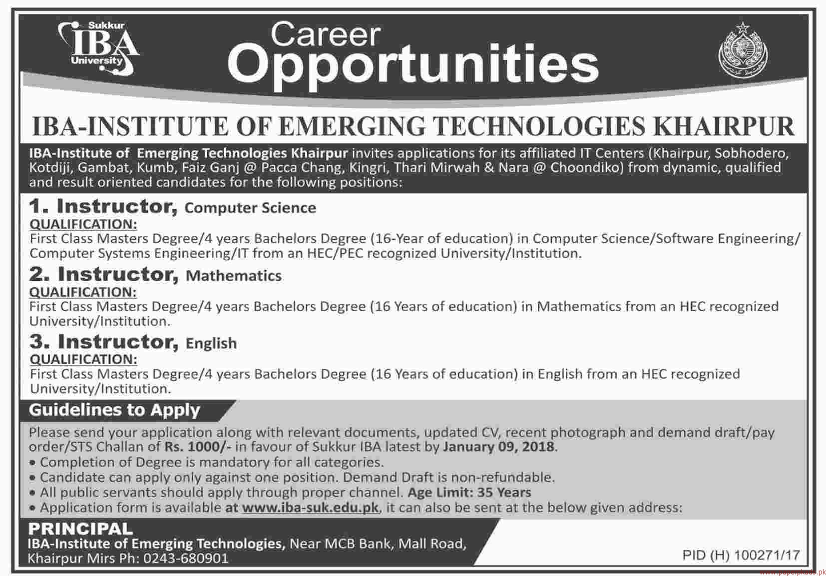 IBA Institute of Emerging Technologies Jobs 2017