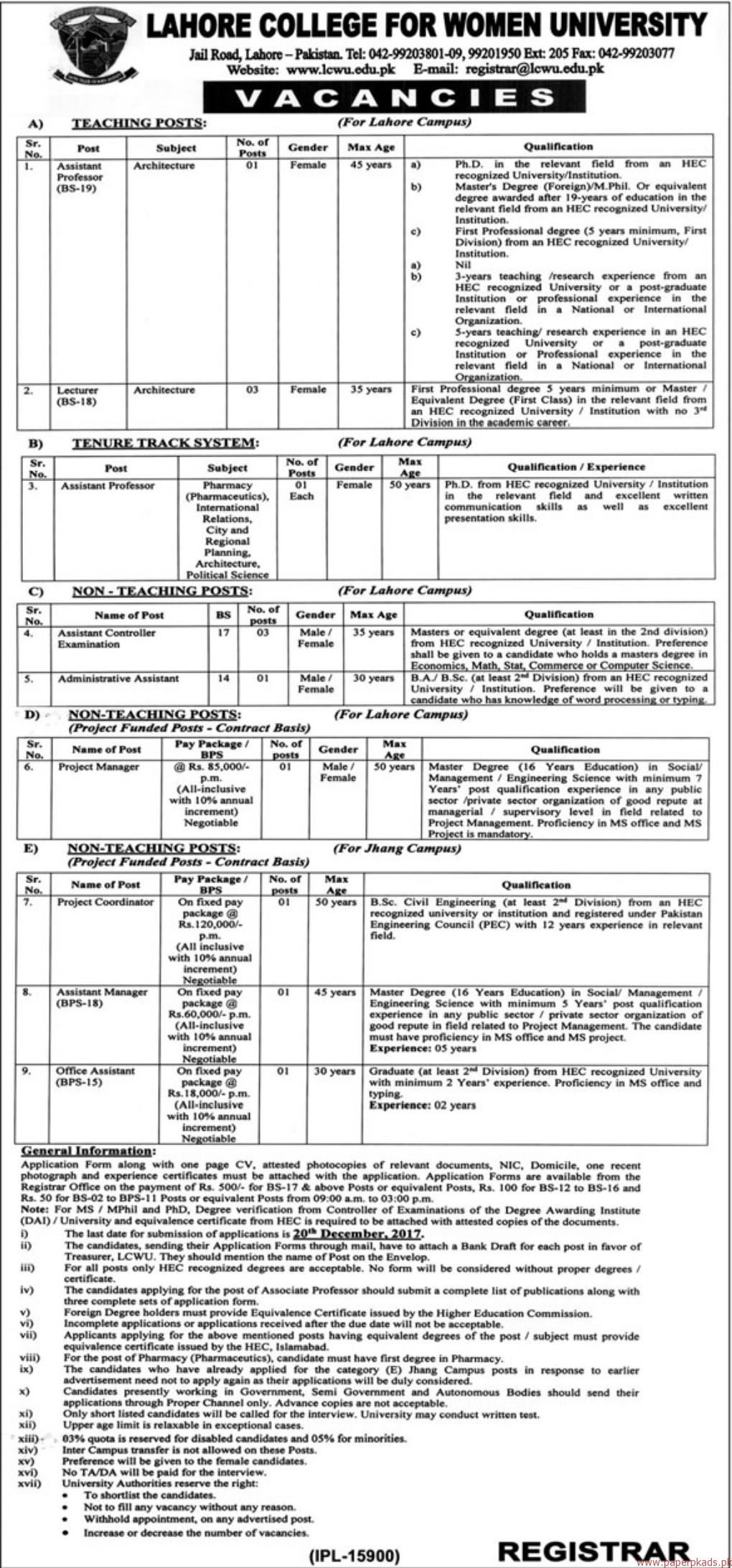 Lahore College for Women University Jobs 2017