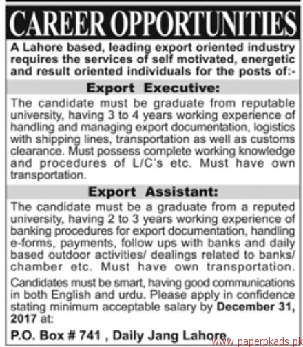 Leading Export Oriented Industry Jobs 2017