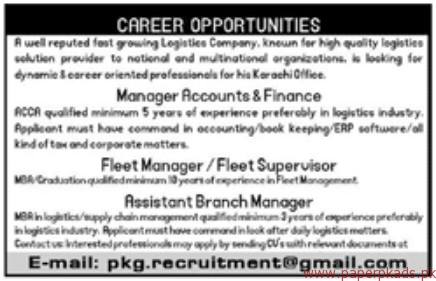 Manager Accounts & Finance Fleet Managers and Other Jobs