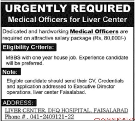 Medical Officers Required