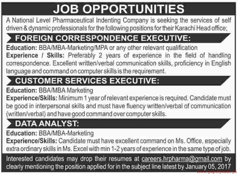 National Level Pharmaceutical Indenting Company Jobs 2017