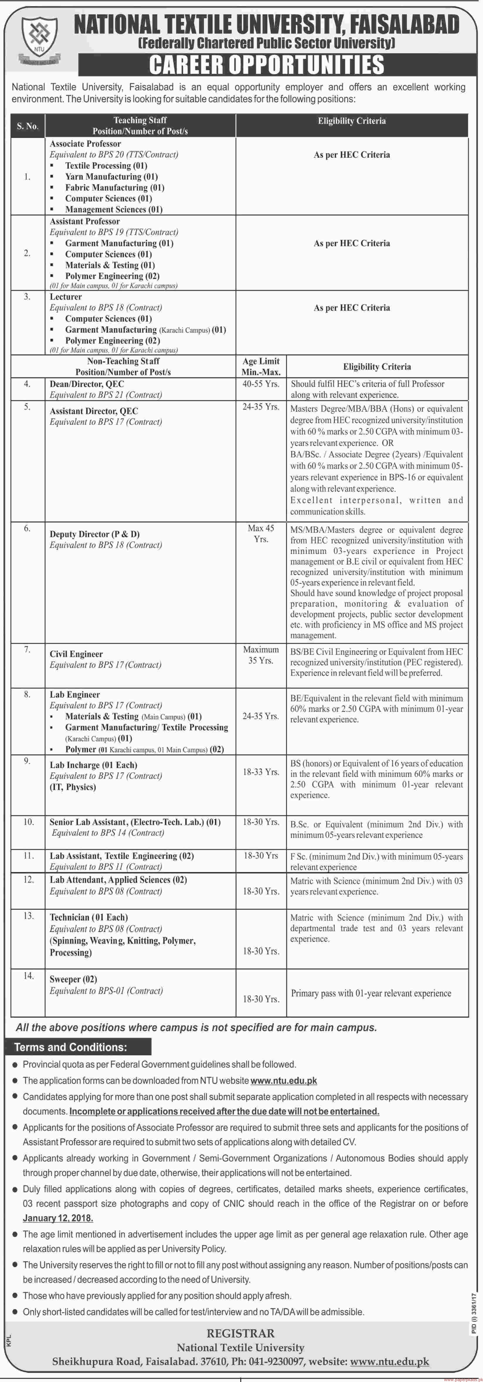 National Textile University Faisalabad Jobs 2017