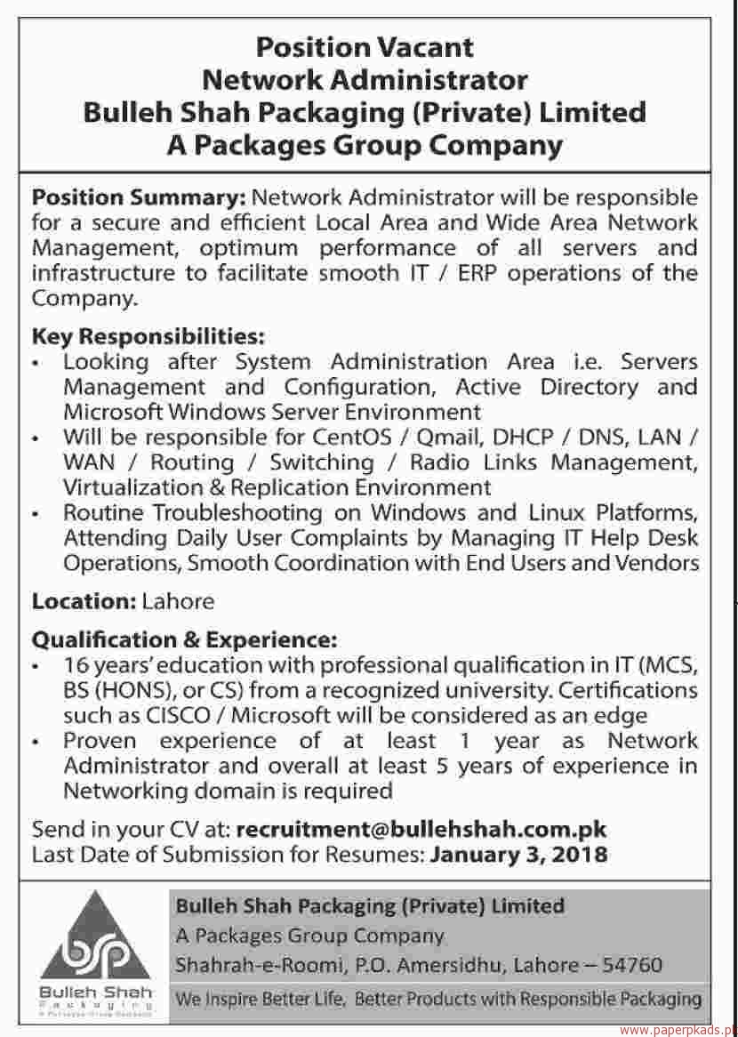 Network Administrator for Bulleh Shah Packaging Private Limited Jobs 2017