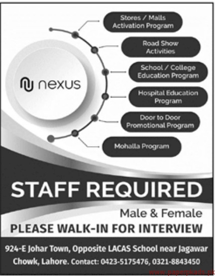 Nexus Staff Required