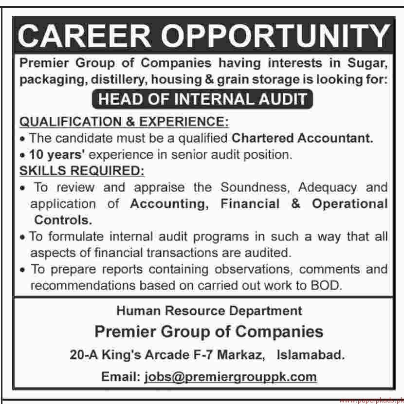 Premier Group of companies Jobs 2017