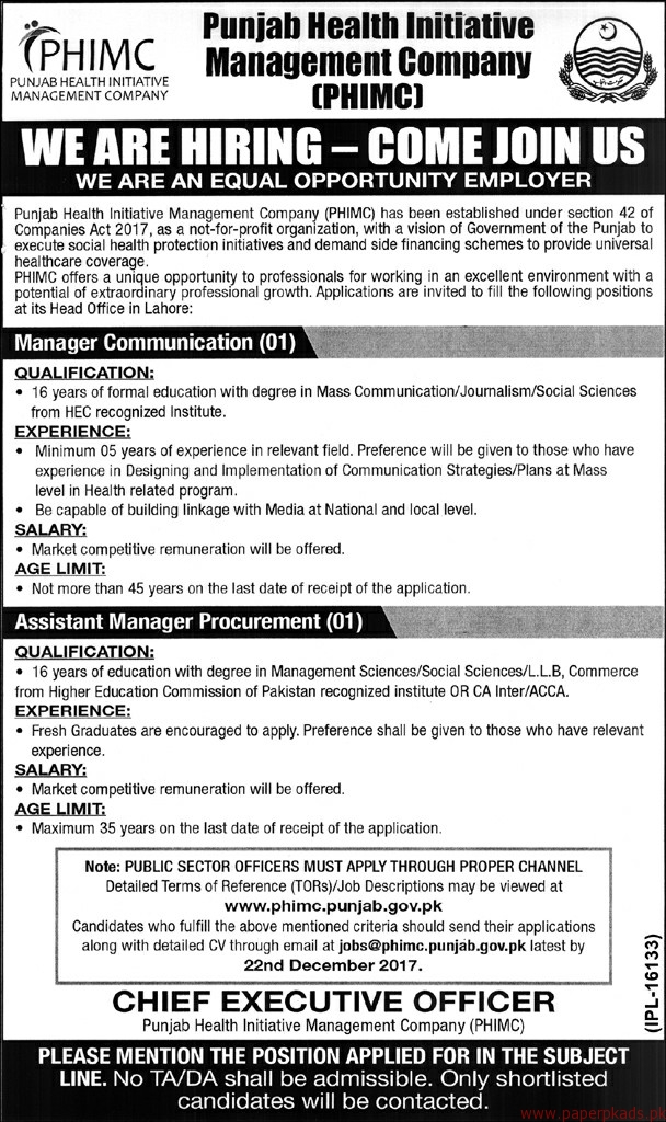 Punjab Health Initiative Management Company PHIMC Jobs 2017