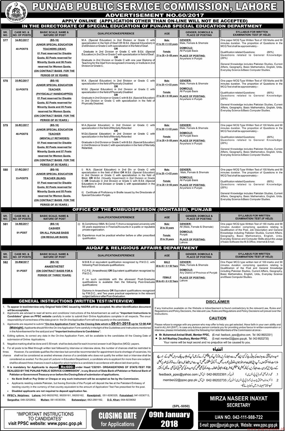 Punjab Public Service Commission Lahore Jobs 2017