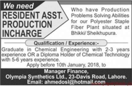 Resident Assistant Production Incharge Required