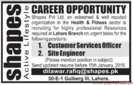 Shapes Private Limited Jobs 2017