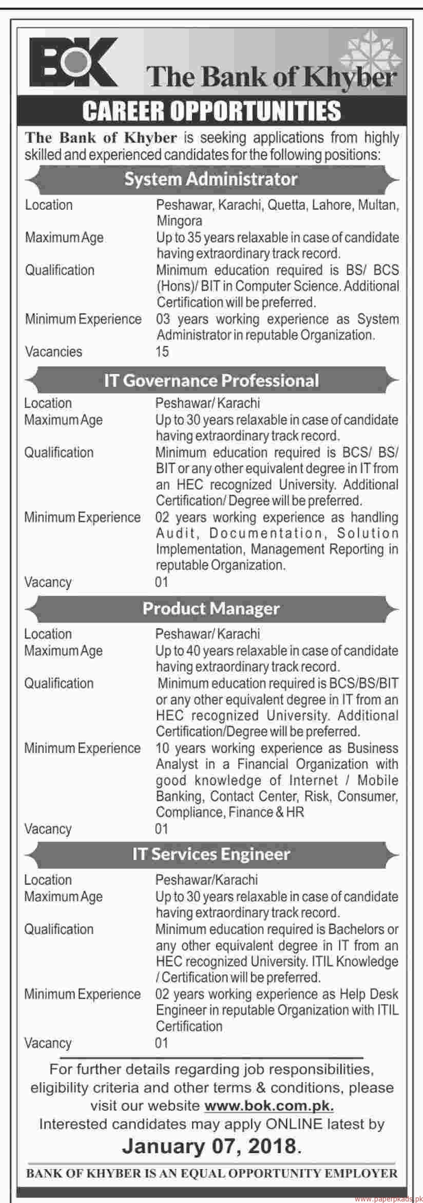 The Bank of Khyber Jobs 2017