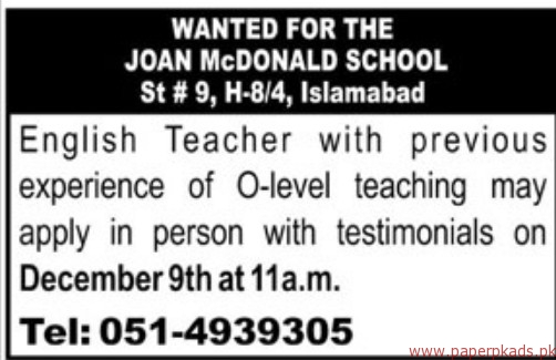 The Joan McDonald School Jobs 2017