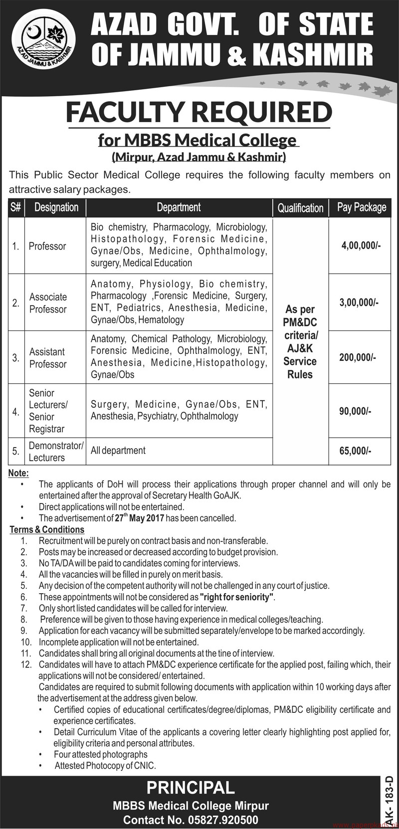 The Public Sector Medical College Jobs 2017