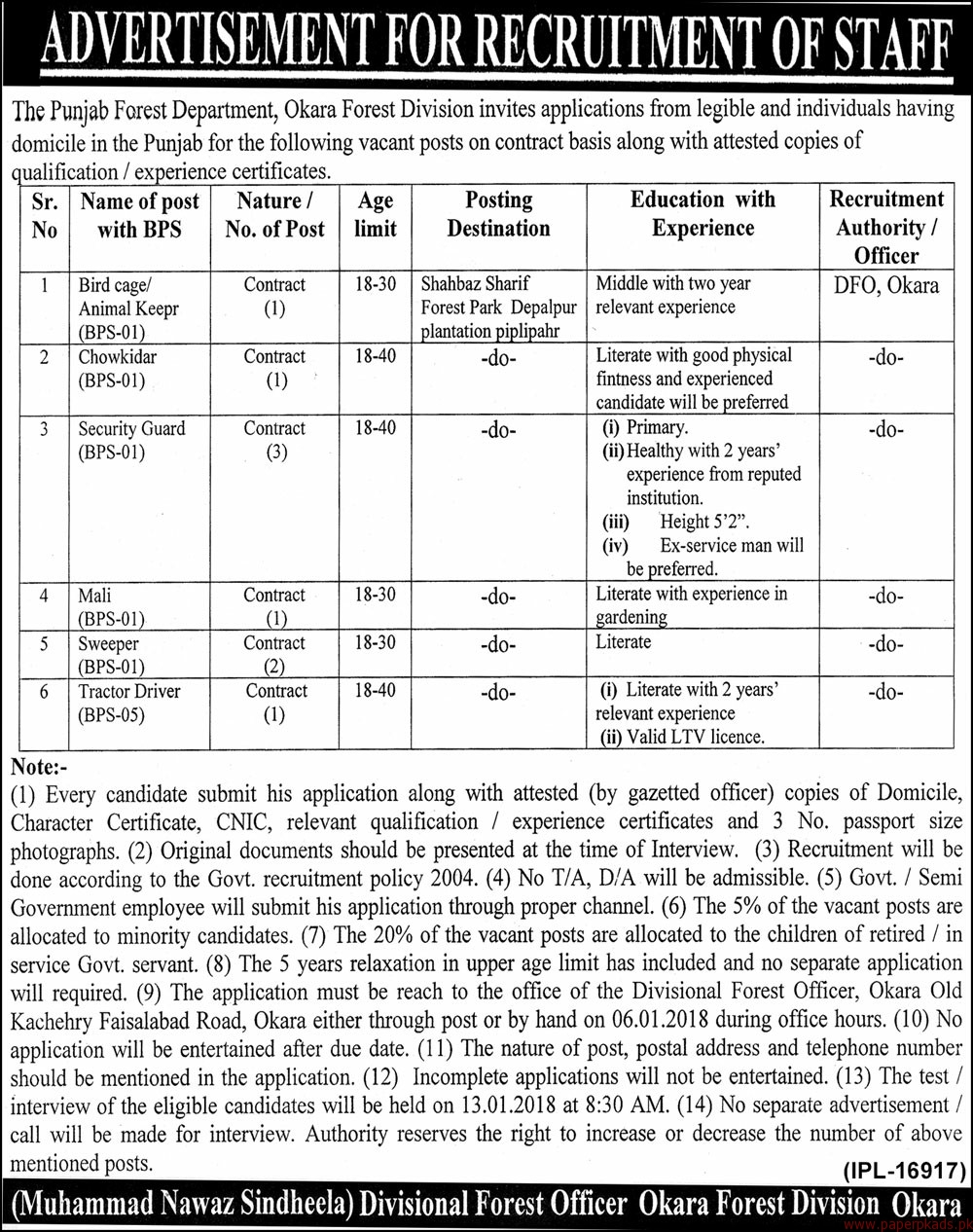 The Punjab Forest Department Jobs 2017