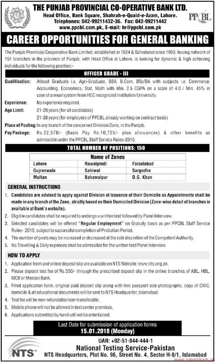 The Punjab Provincial Co-Operative Bank Limited Jobs 2017