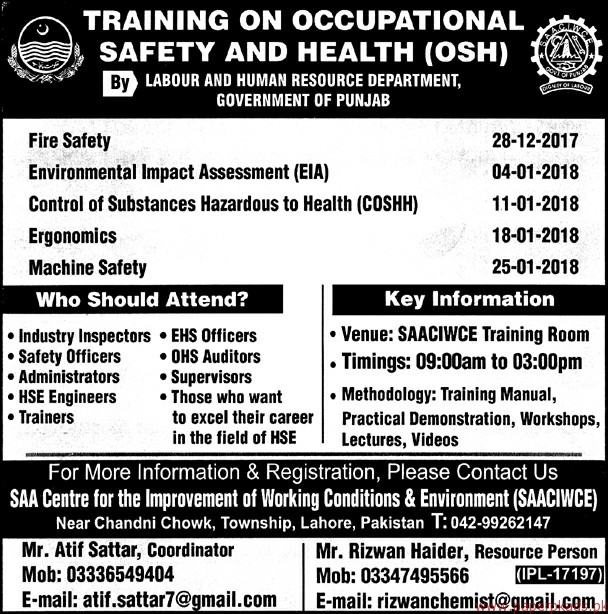 Training on Occupational Safety and Health Jobs 2017